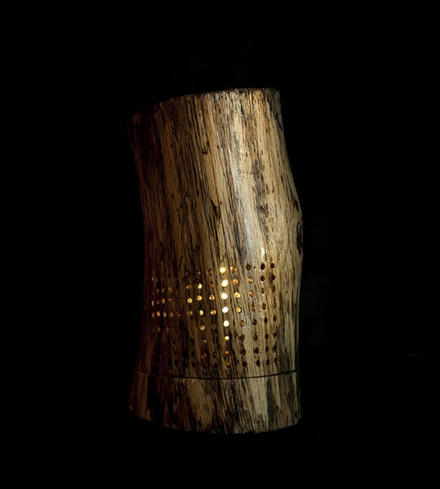 Drilled Holes Wood Lamp - table-lamps