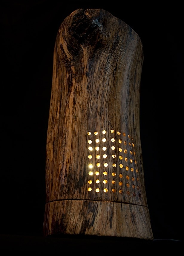 Drilled Holes Wood Lamp Table Lamps