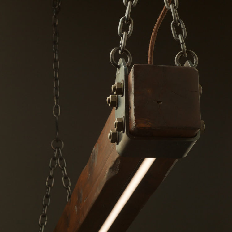 Aged Cypress Beam LED Pendant Light - restaurant-bar, pendant-lighting