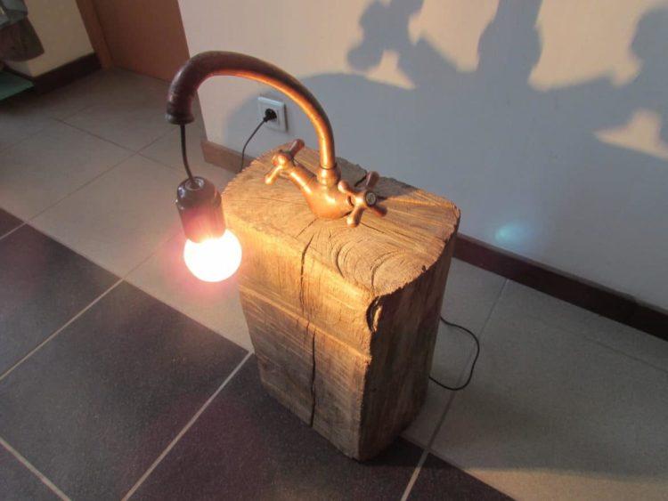 Copper Faucet Lamp on Wood Log Floor Lamps Wood Lamps