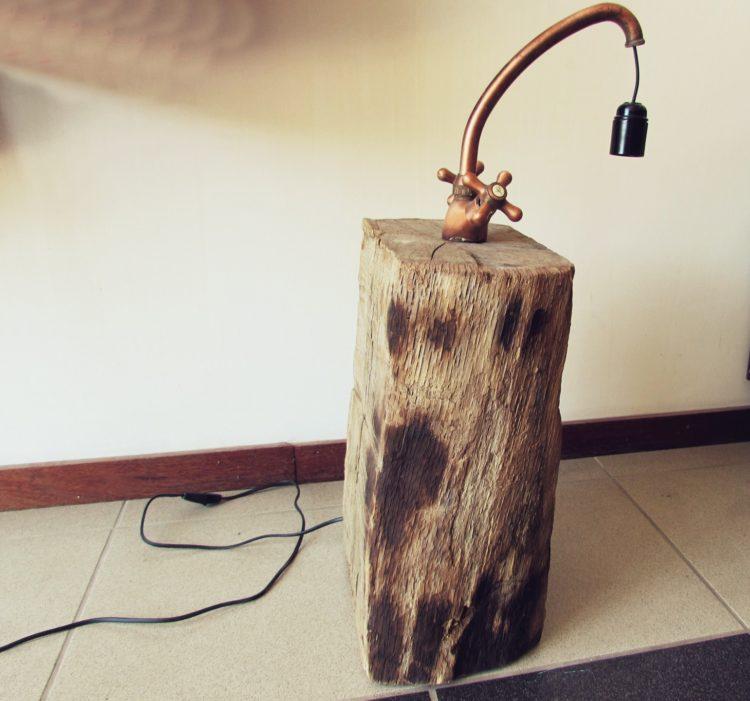 Copper Faucet Lamp on Wood Log - wood-lamps, floor-lamps