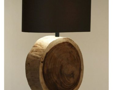 Natural Wood Plank Circle Table Lamp