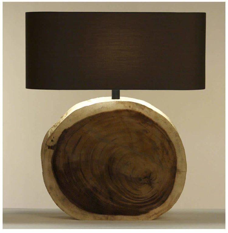 Natural Wood Plank Circle Table Lamp