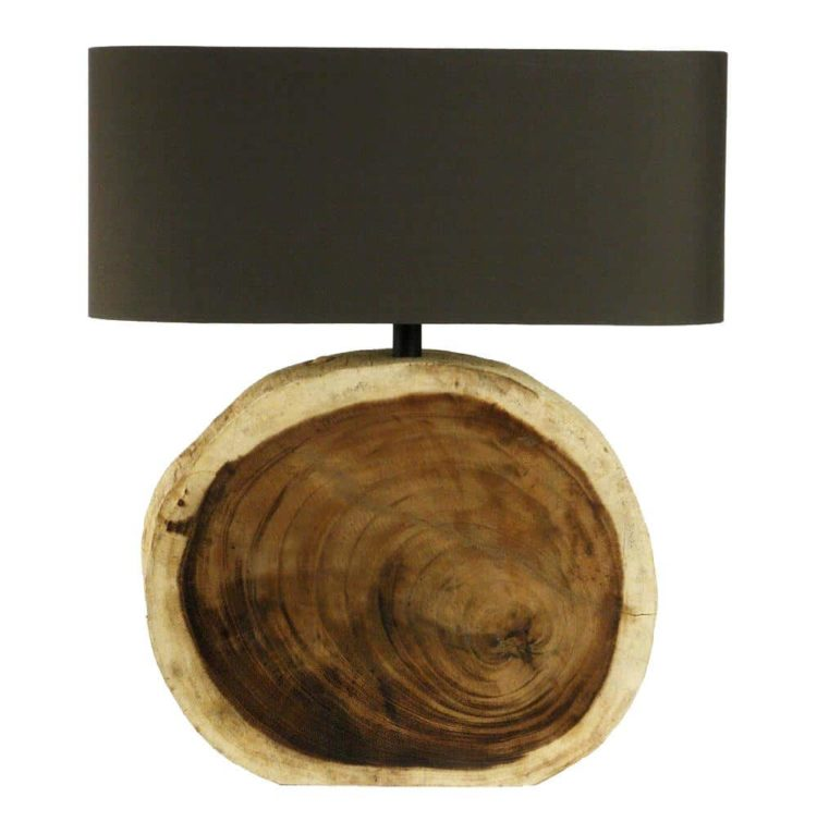 Natural Wood Plank Circle Table Lamp - table-lamps