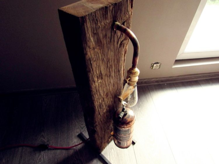 Oak Wood and Copper Muratori Sprayer Floor Lamp 1 - Floor Lamps - iD Lights
