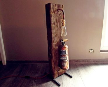 Oak Wood and Copper Muratori Sprayer Floor Lamp