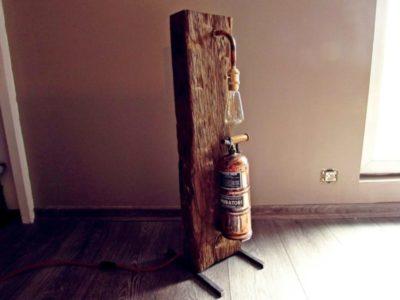 Oak Wood and Copper Muratori Sprayer Floor Lamp