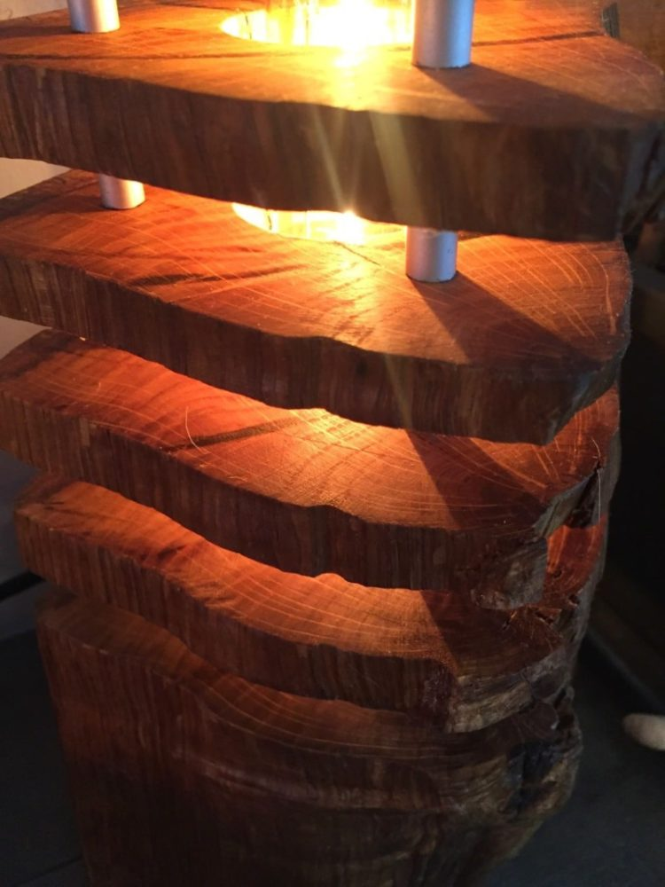 Column Wood Log Lamp