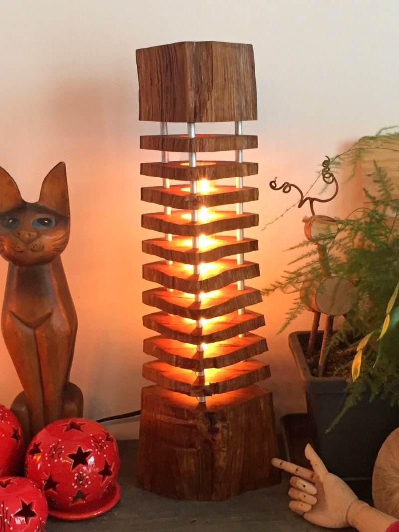 Column Wood Log Lamp Id Lights