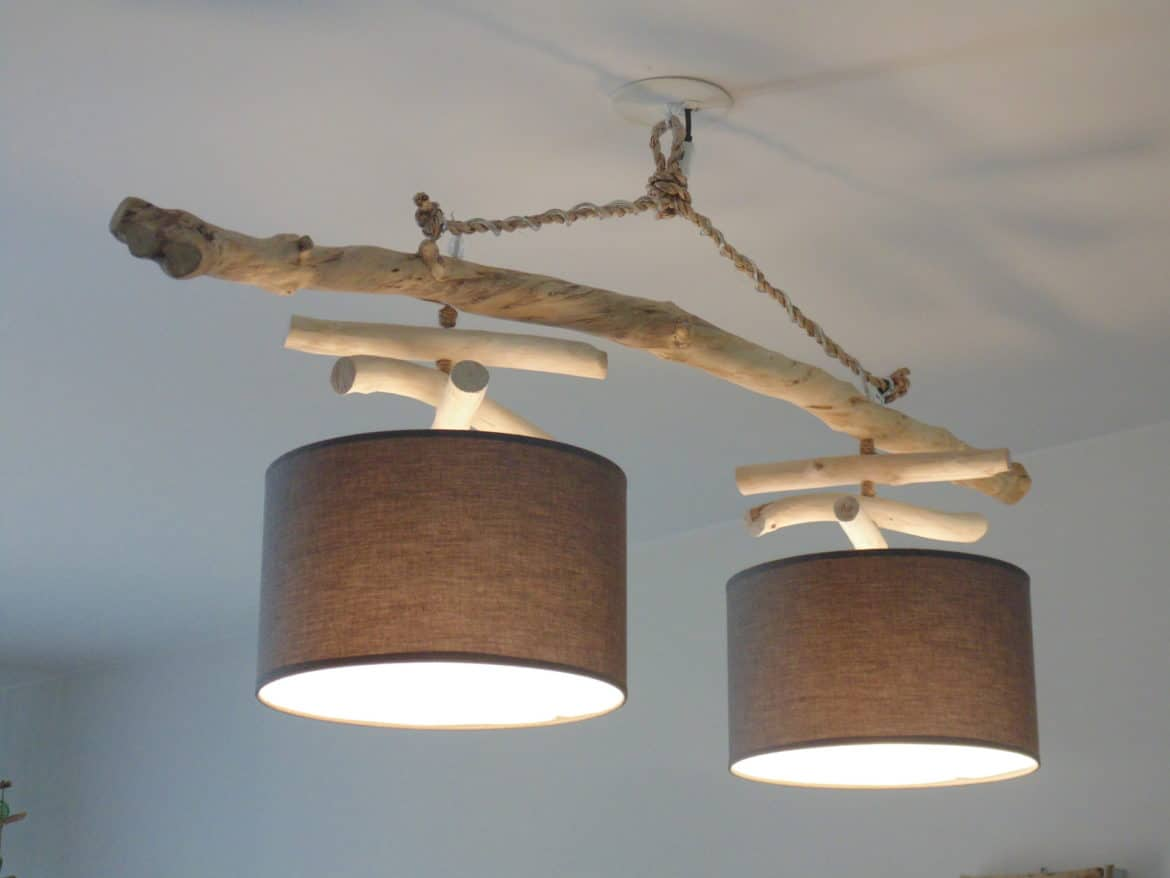 Double driftwood chandelier id lights for Fabriquer suspension bois flotte