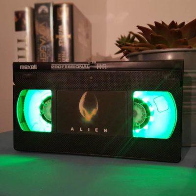 Retro VHS Alien Sci-Fi Night Light Table Lamp