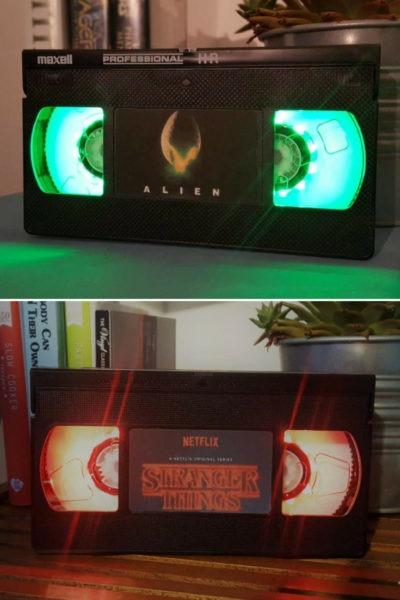 Retro VHS Alien Sci-Fi Night Light Table Lamp