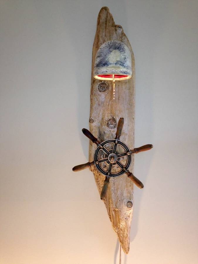 Antique Ship Wheel Drift Wood Lamp - wall-lights-sconces