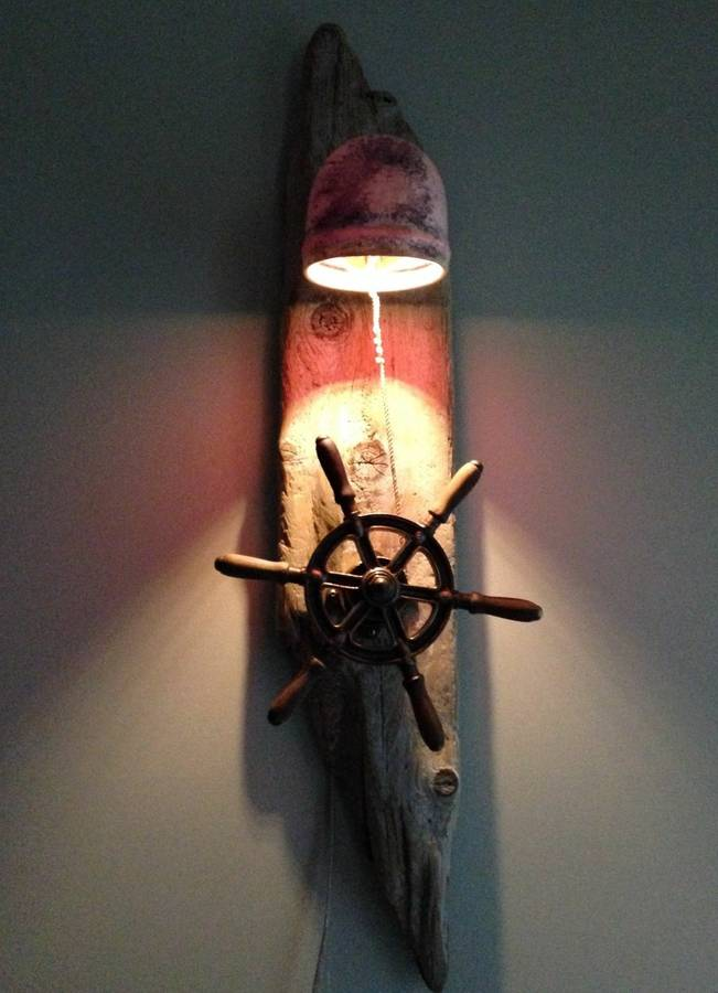 Antique Ship Wheel Drift Wood Lamp iD Lights