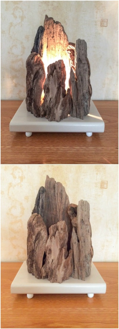 Floating Wooden Lamp with Rock Shape - table-lamps