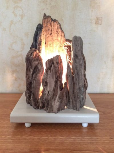 Floating Wooden Lamp with Rock Shape