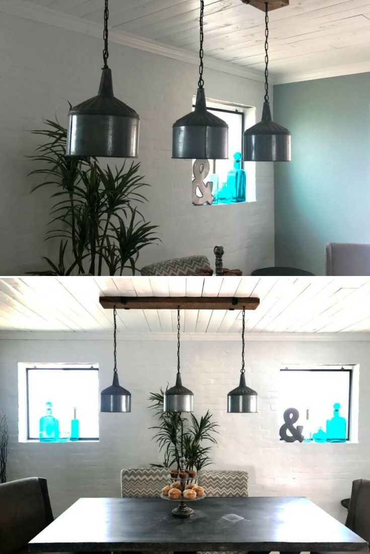 Funnel Chandelier with Barn Wood Beam and Iron Brackets