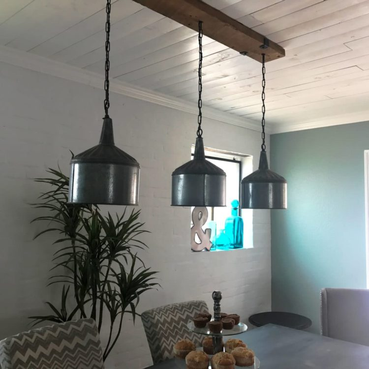 Funnel Chandelier with Barn Wood Beam and Iron Brackets Pendant Lighting