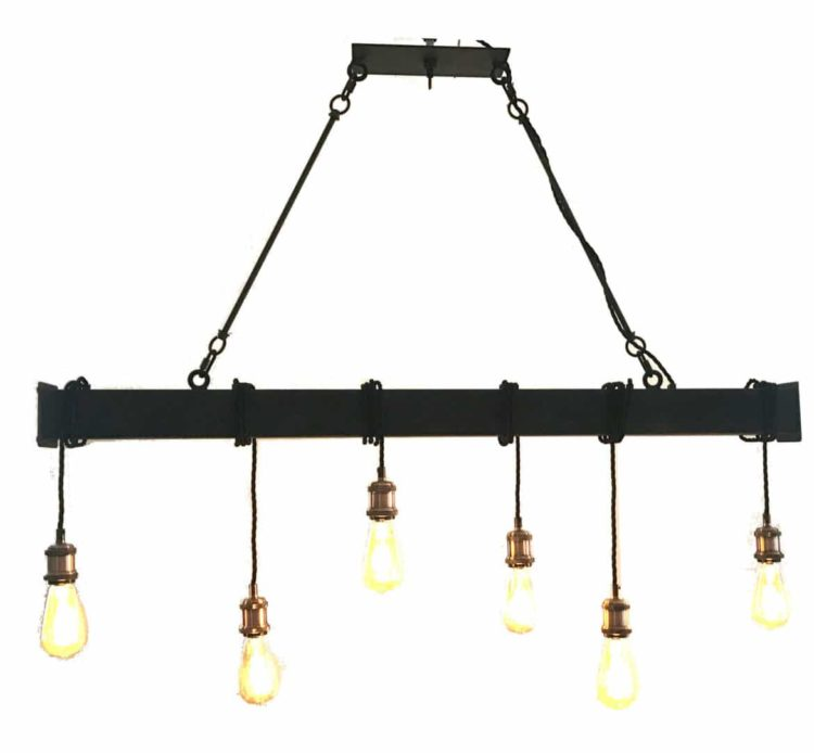 Industrial Steel Beam with Cloth Cord Wrap - restaurant-bar, chandeliers