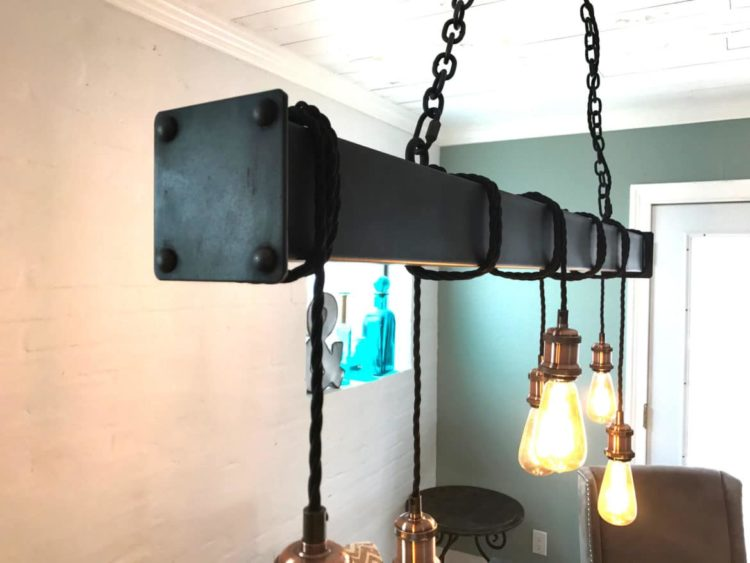 Industrial Steel Beam with Cloth Cord Wrap Chandeliers
