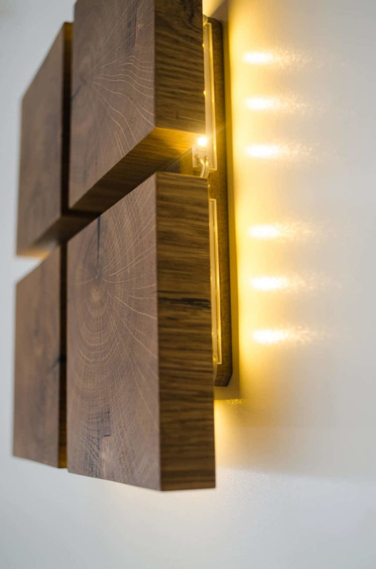 Square Wooden Oak Sconce