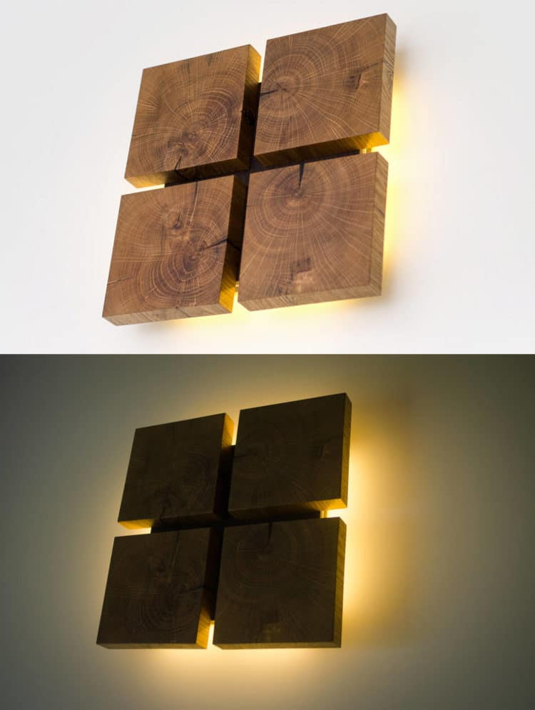 Square Wooden Oak Sconce - wall-lights-sconces