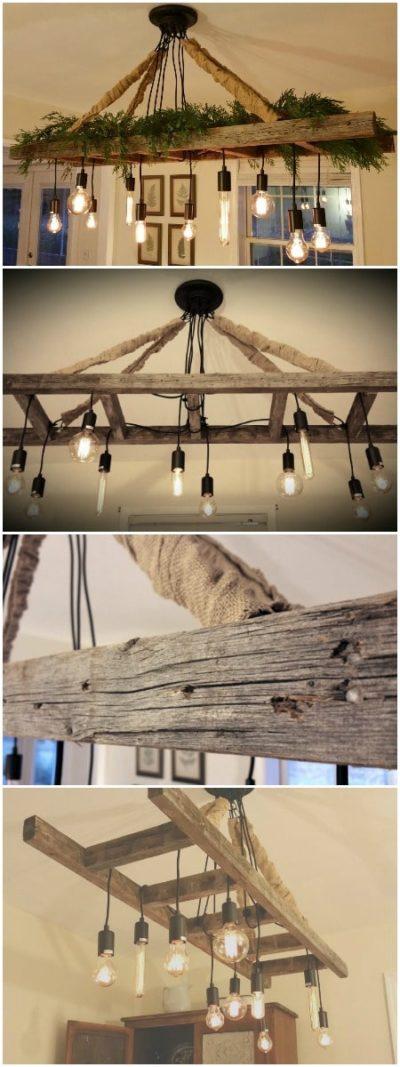 Vintage Farmhouse Ladder Chandelier