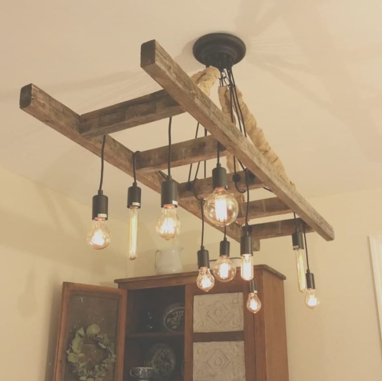 Vintage Farmhouse Ladder Chandelier