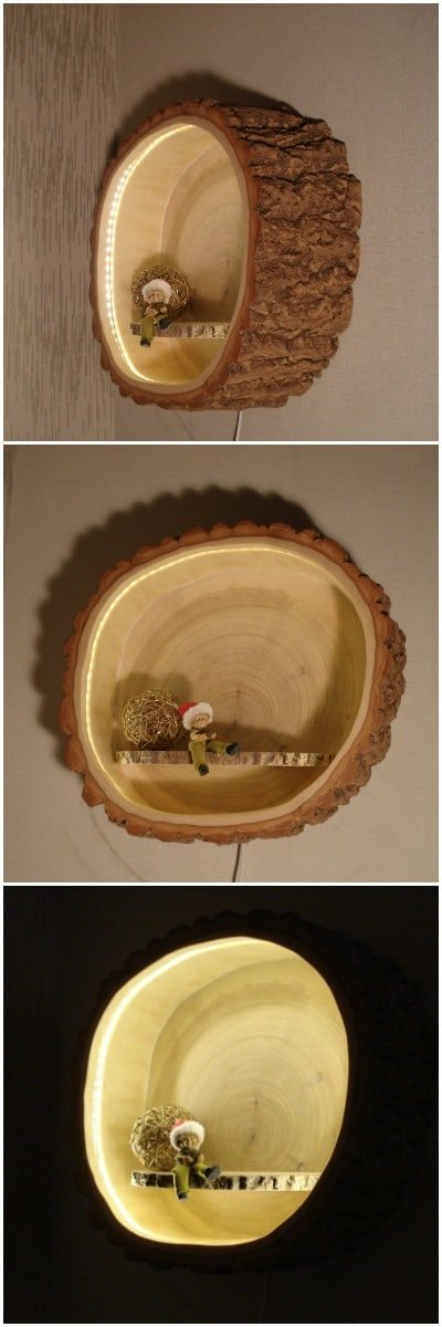 Wood Tree Trunk Sconce Lamp