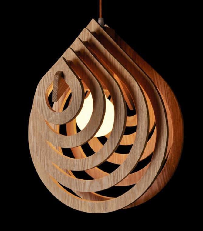 Wooden Water Drop Lamp - pendant-lighting