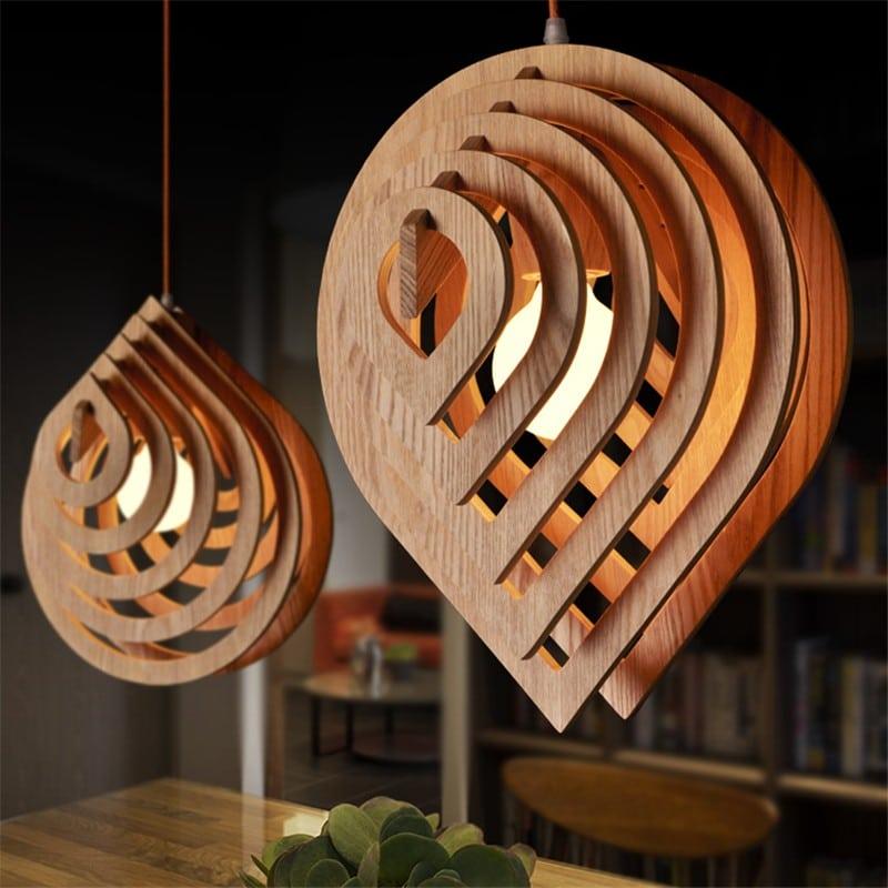 Wooden Water Drop Lamp
