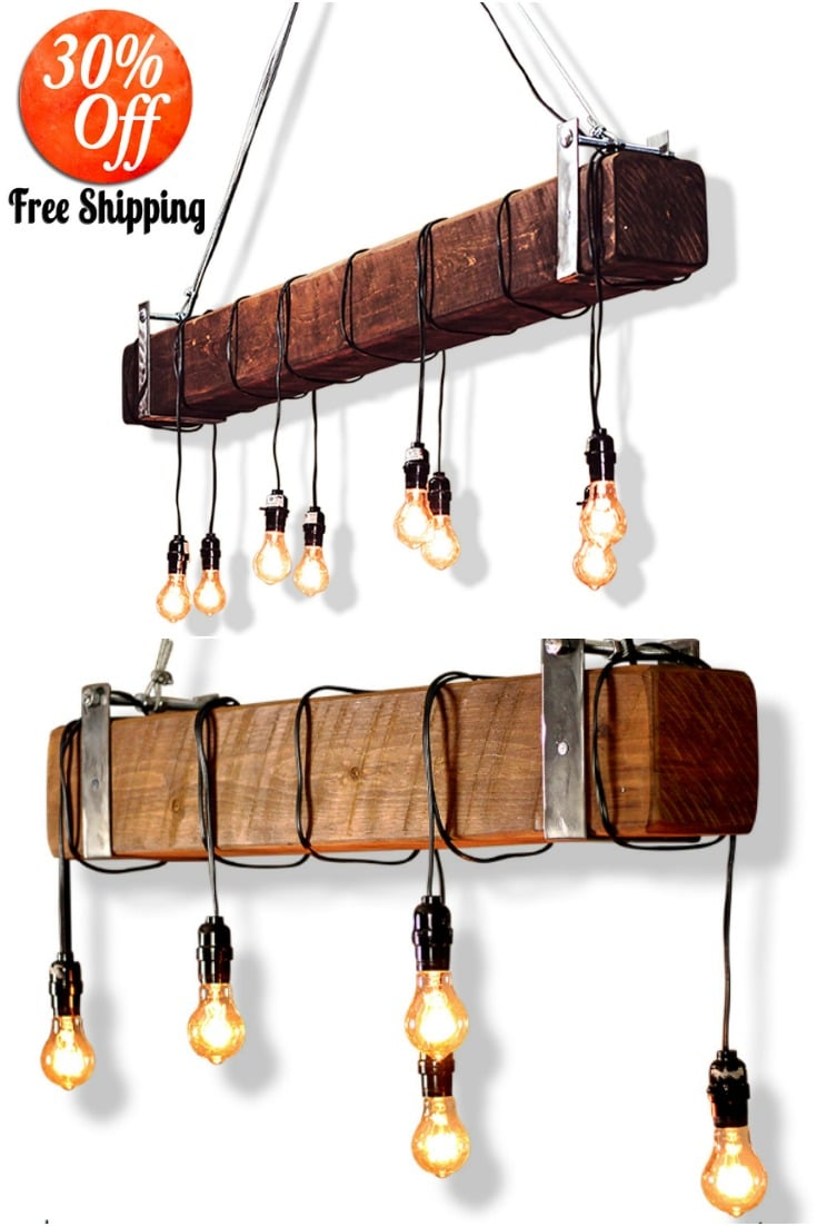 Industrial Beam Light with Edison Bulbs Offer
