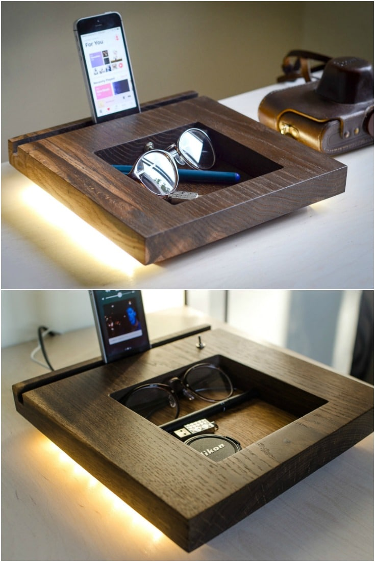 Oak Docking Station Table Lamp - desk-lamps