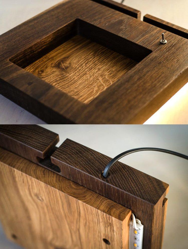Oak Docking Station Table Lamp
