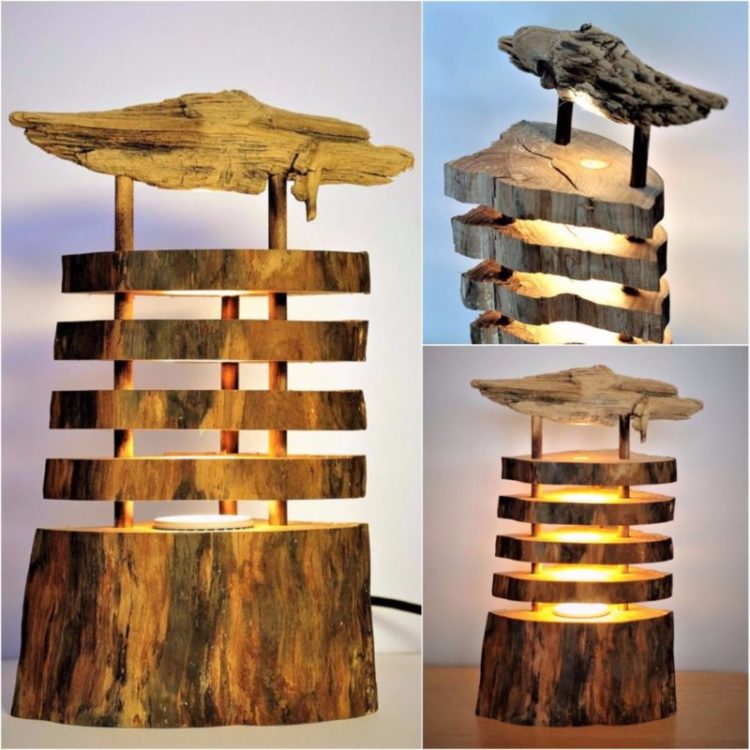 How to Make a Spectacular Floor Log Lamp - wood-lamps, floor-lamps