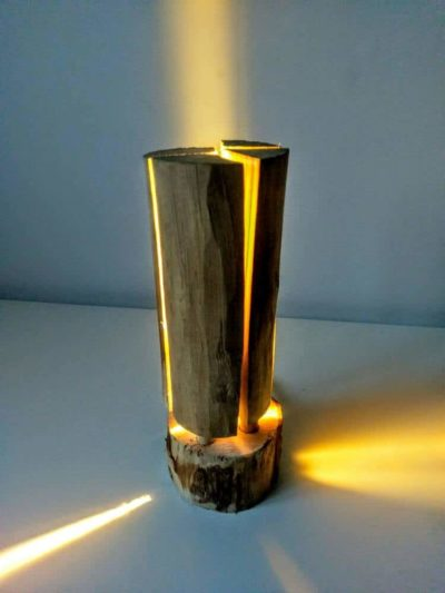 Swedish Torch Rustic Wooden Log Floor Lamp