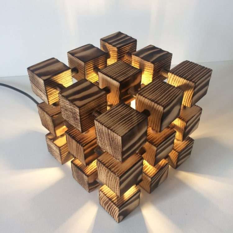 Wooden Rubik Cube Table Lamp