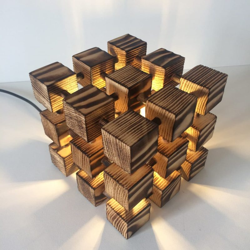 wooden rubik cube table lamp id lights. Black Bedroom Furniture Sets. Home Design Ideas