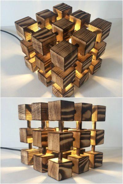 Wooden Rubik Cube Table Lamp