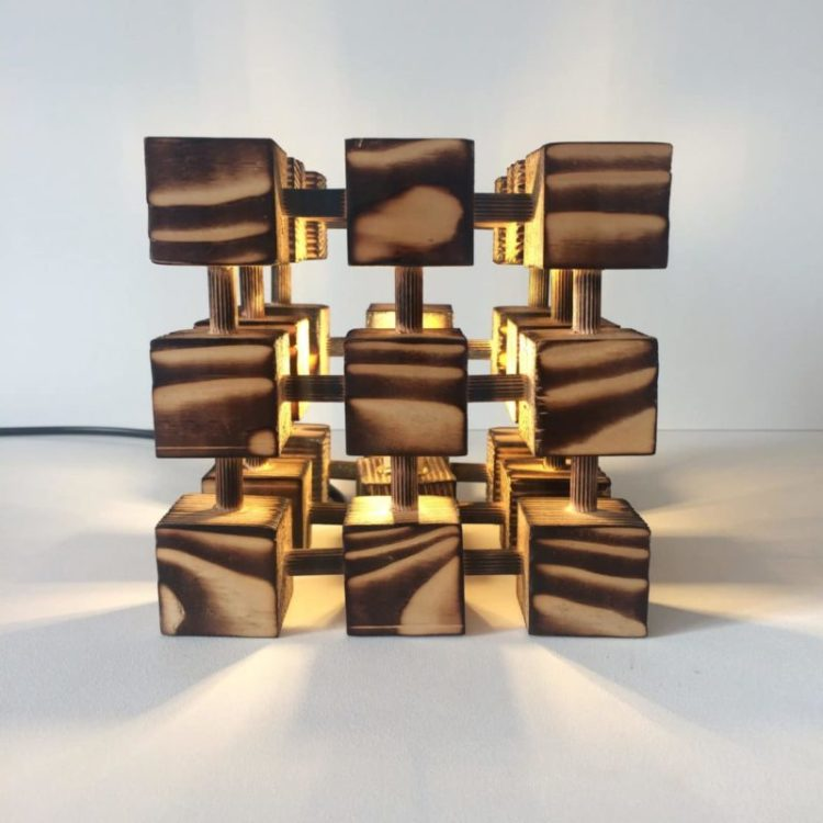Wooden Rubik Cube Table Lamp - table-lamps