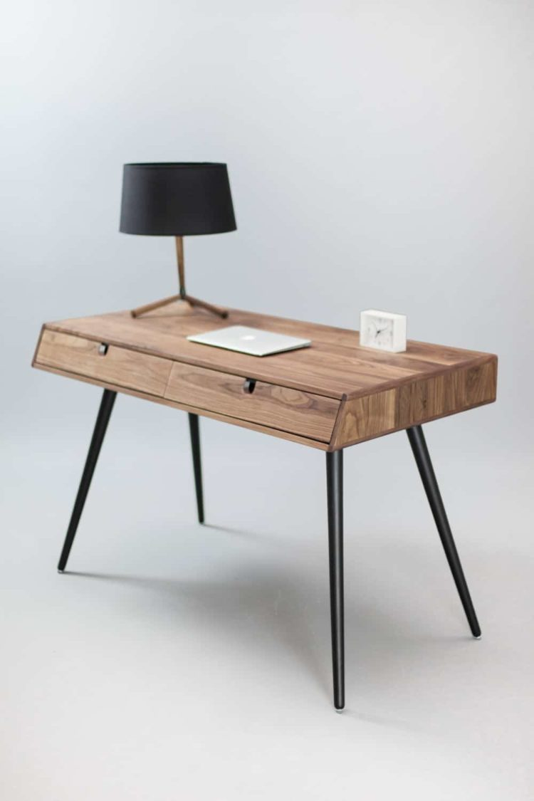 Classic Solid Walnut Wood Desk - table-lamps