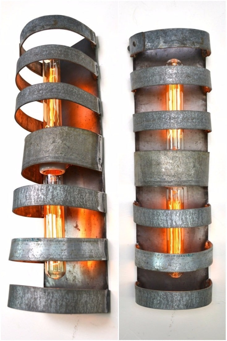Double Wine Barrel Wall Sconce