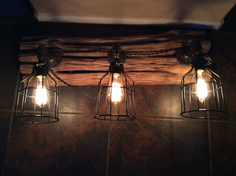 Edison Lamp on Saguaro Cactus with Cages - wall-lights-sconces
