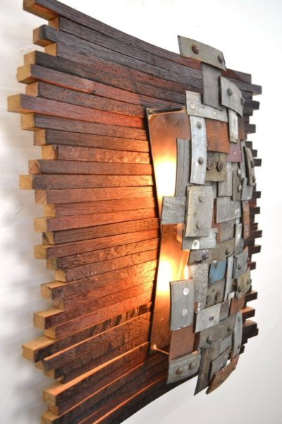 Recycled Napa Barrels Art Wall Light