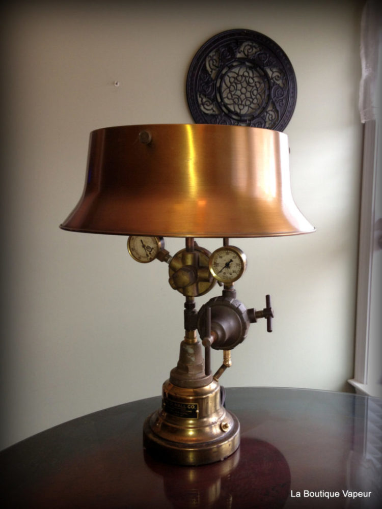 Steampunk Table Lamp made from Vintage Torch - table-lamps
