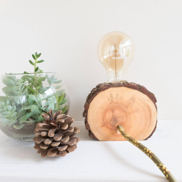 Two Cute Firewood Lamps with Great Edison Bulbs