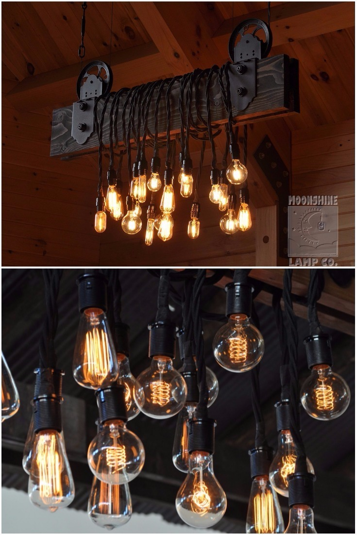 Wood Plank Pulley Farmhouse Chandelier - restaurant-bar, chandeliers