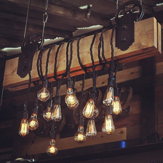 Wood plank pulley farmhouse chandelier id lights wood plank pulley farmhouse chandelier restaurant bar chandeliers aloadofball Image collections
