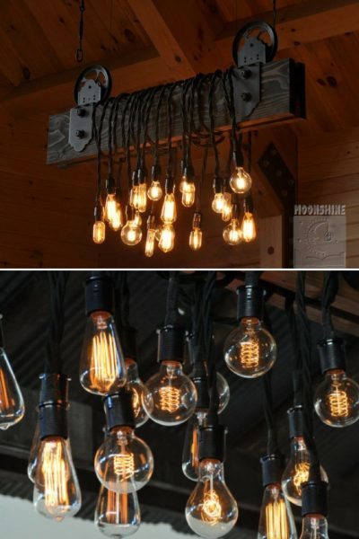 Wood Plank Pulley Farmhouse Chandelier
