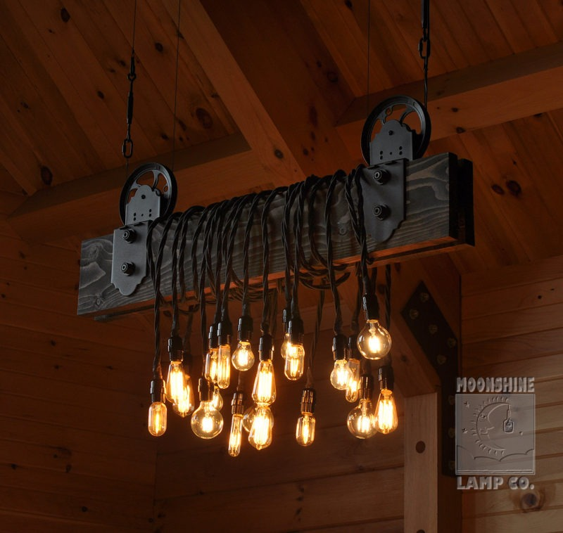 Wood Plank Pulley Farmhouse Chandelier Id Lights